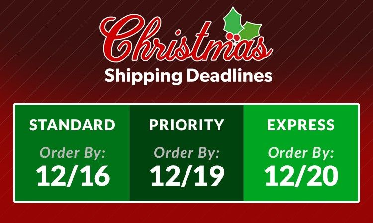 red and green graphic showing holiday shipping deadlines