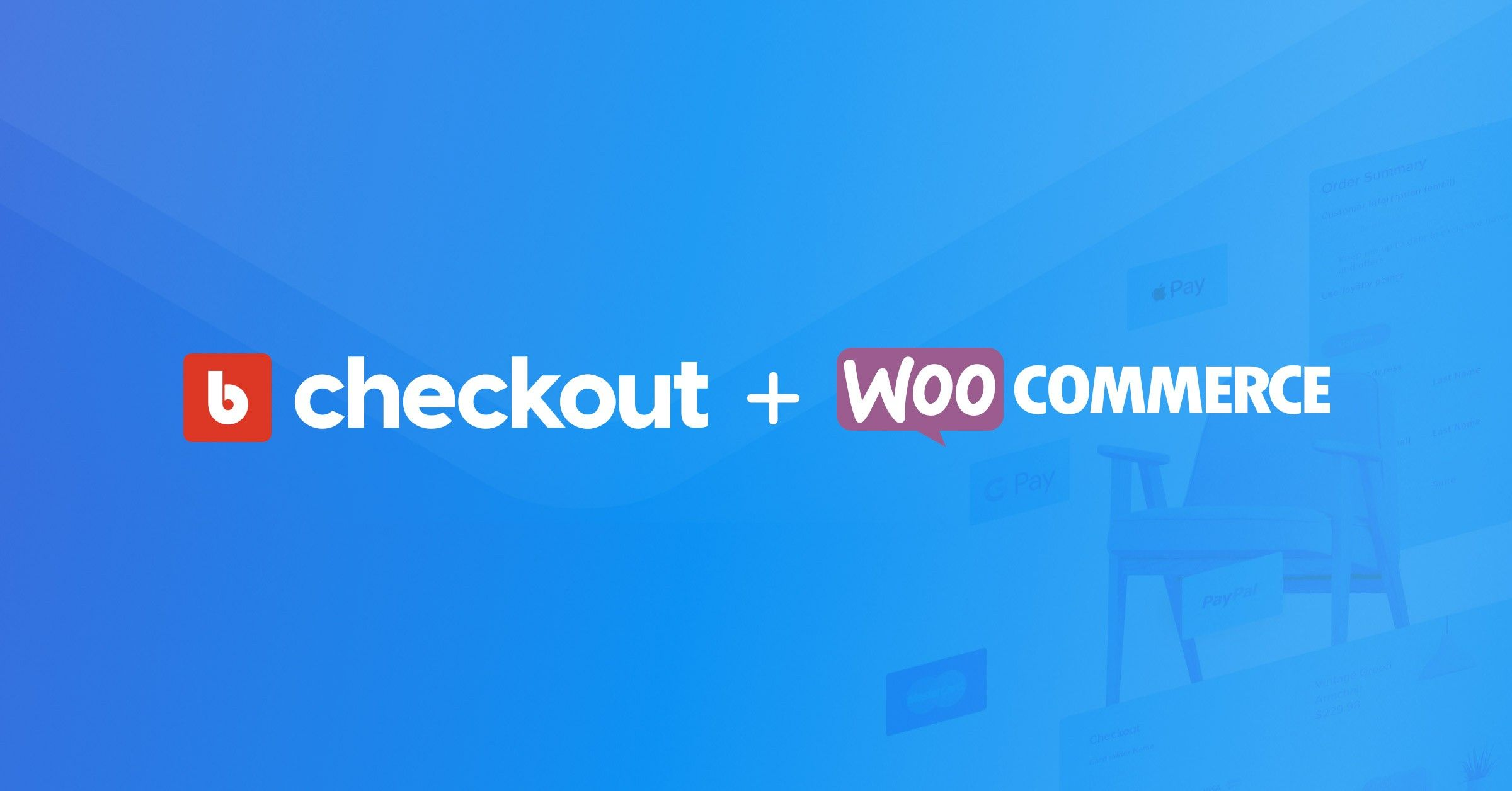 The Bold Checkout and WooCommerce logos over a blue transparent background