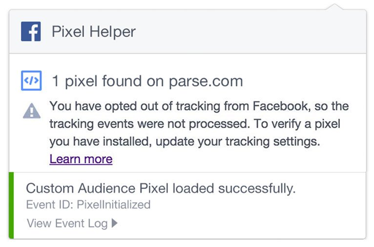 You have opted out of tracking Facebook pixel error message