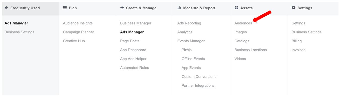 Facebook Business Manager Menu Navigation