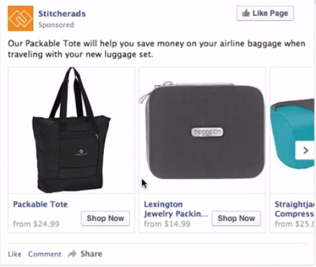FB Ad Cross-sell example