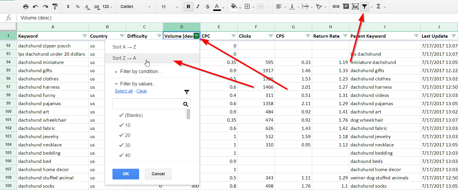 Filtering Keywords by Search Volume in Google Sheets