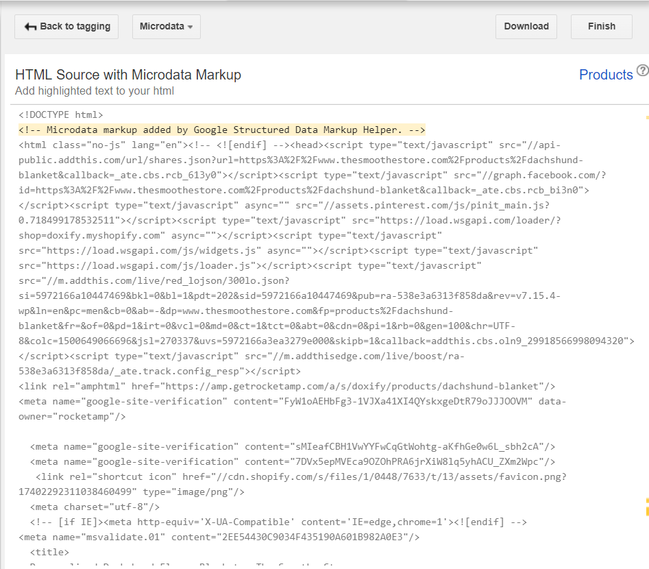 HTML Source with Microdata Markup