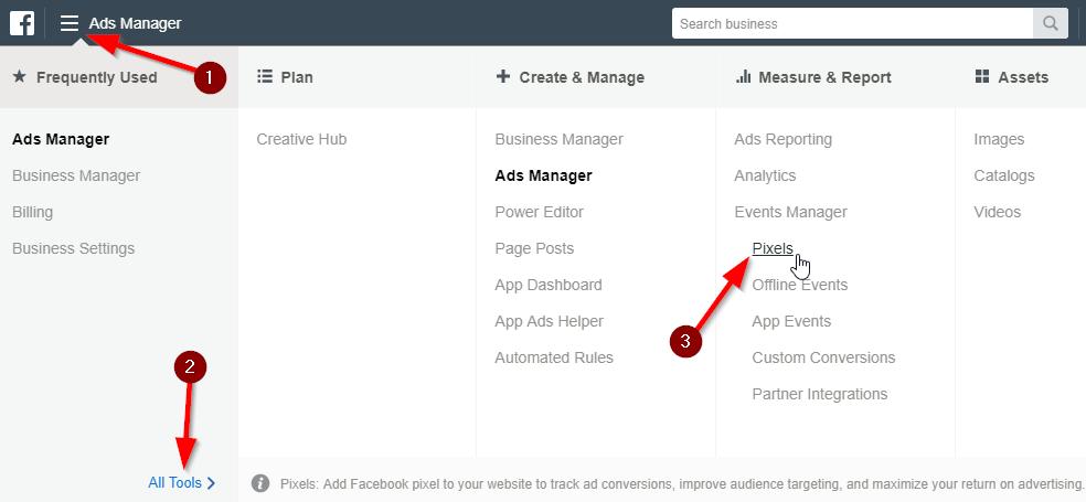 Facebook Business Manager Pixels Menu