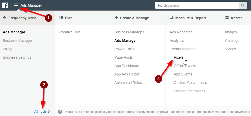 Facebook Business Manager Pixels Menu