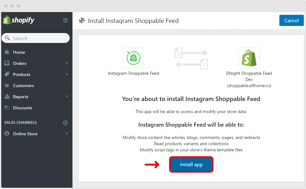 Install instagram shoppable feed