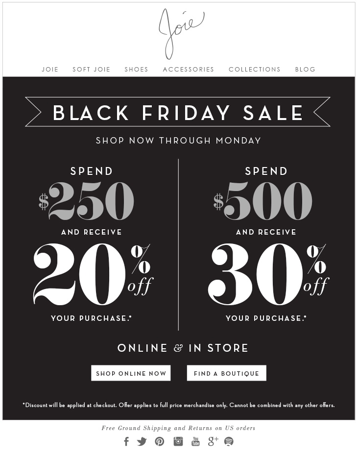 Joie Black Friday Tiered Pricing Discounts