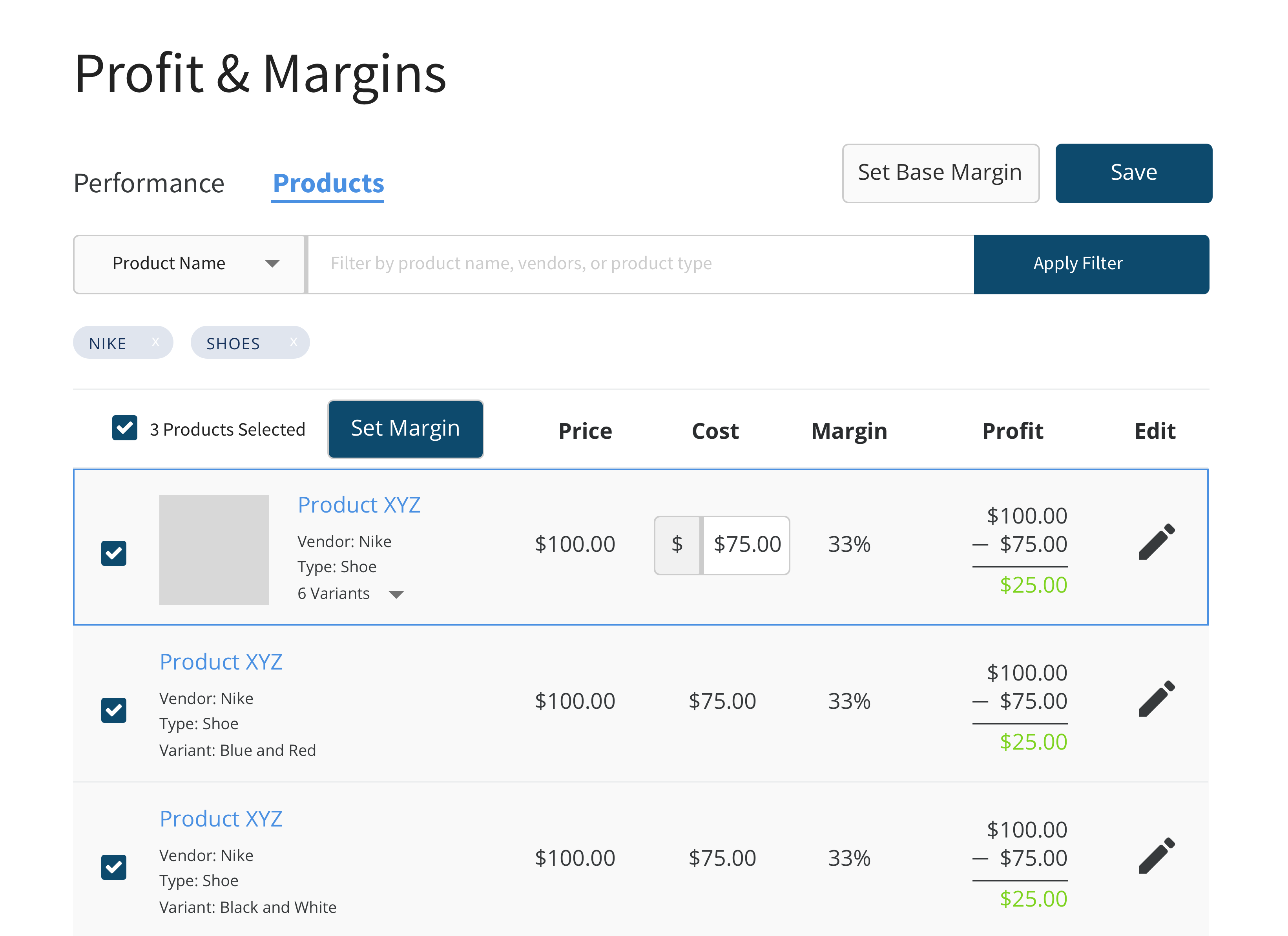 Profit & Margins - Products Edit Cost