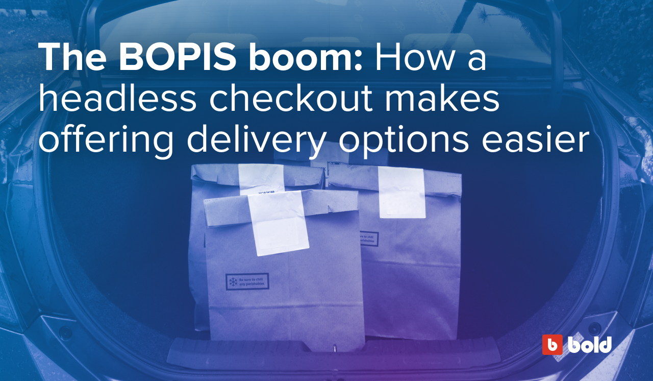 Bags in the trunk of a car with a text overlay that says The BOPIS boom: How a headless checkout makes offering delivery options easier