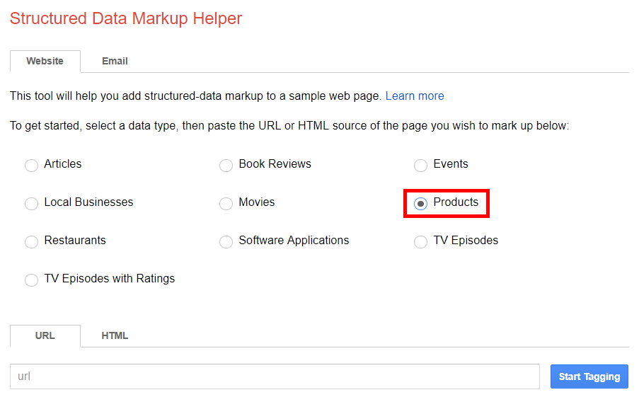 Structured data markup helper data type