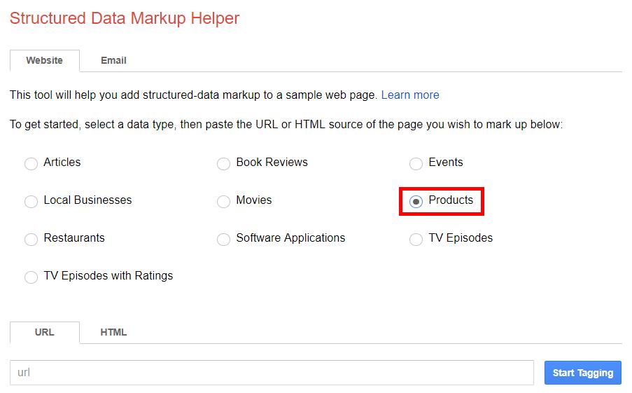 Structured data markup helper data type