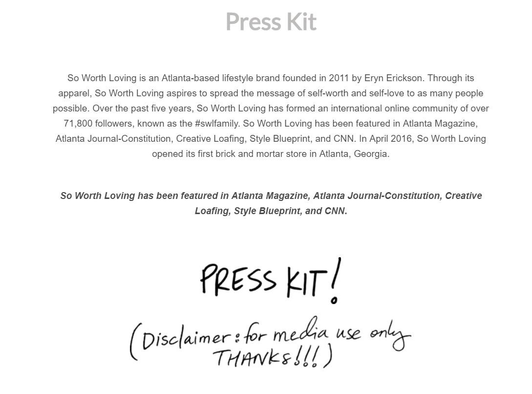 ecommerce store press kit example