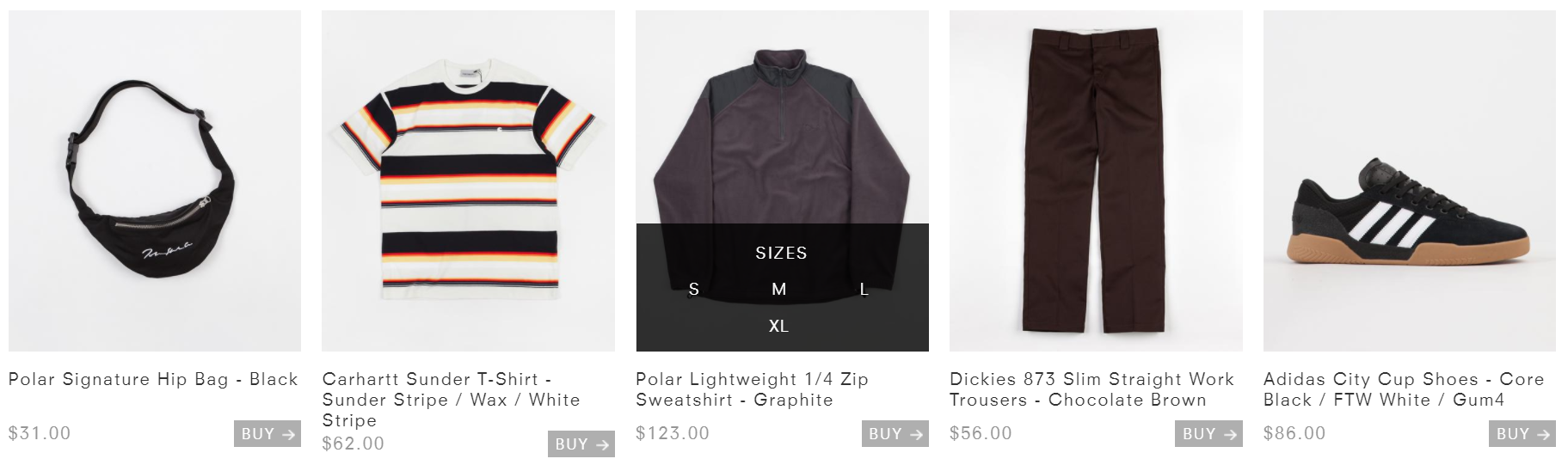 ecommerce store sizing indicator