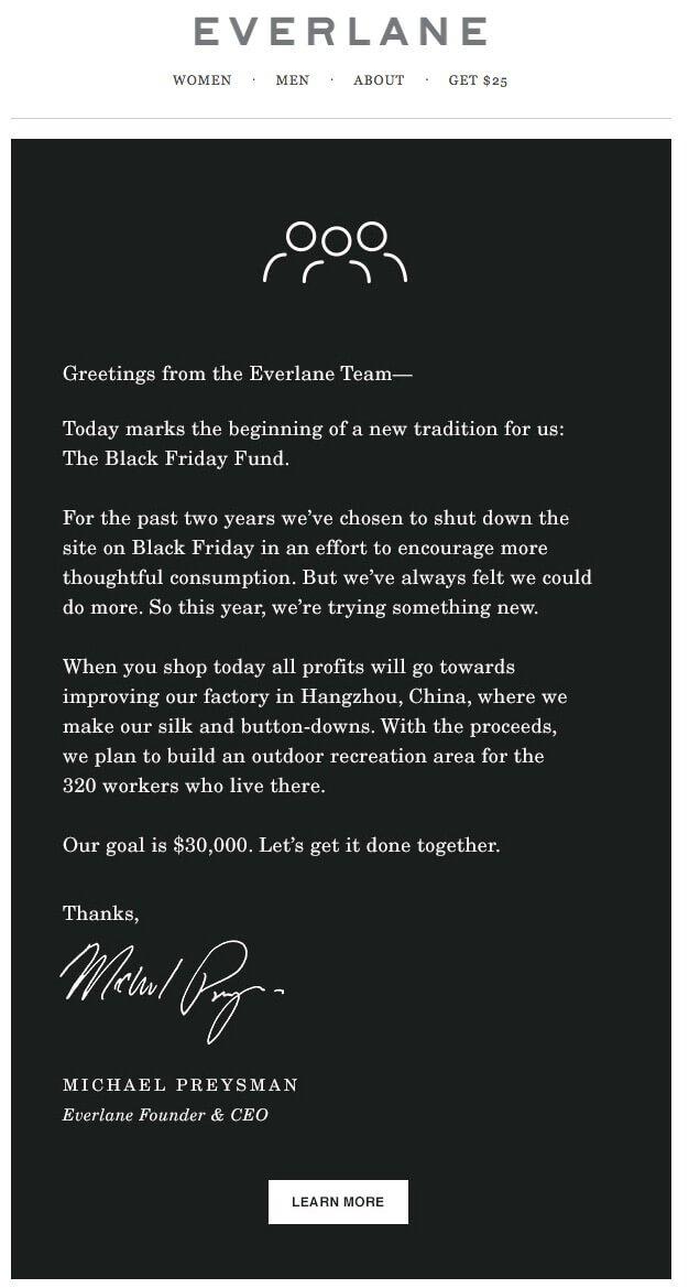 Everlane Marketing Email