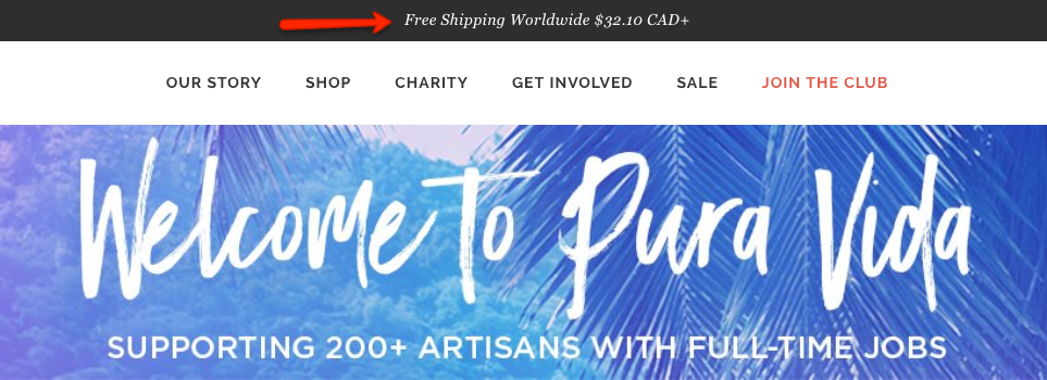 Shopify free shipping offer